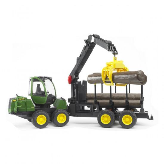 Bruder traktor John Deere s utovarivačem i prikolicom za trupce