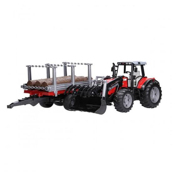 Bruder šumarski traktor s prikolicom i trupcima 02046