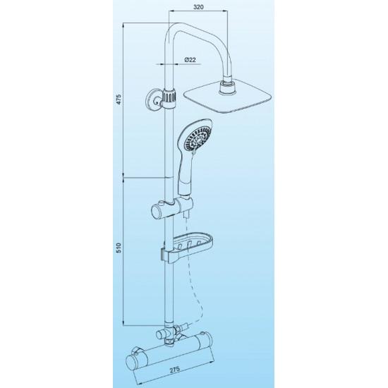 Sanotechnik tuš set s termostatskim ventilom AS410