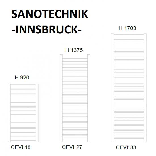 Sanotechnik električni kupaonski radijator Innsbruck 1000W bijeli, ravni