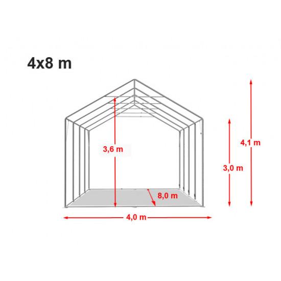 Šator za skladištenje hala 6x10 m - bočna visina 3,0m s patentnim zatvaračem i krovnim prozorima, PVC 550 g / m2
