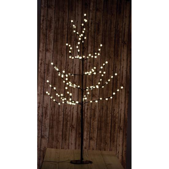 Svijetla smeđe stablo 150 cm s kuglicama / toplo bijela