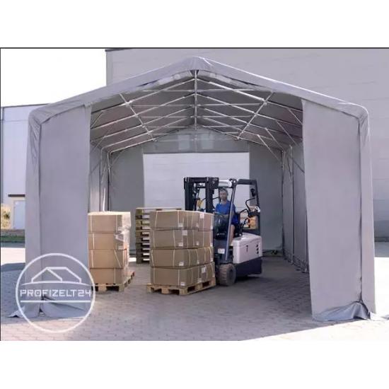 Šator za skladištenje hala 6x12 m - bočna visina 4,0 m s patentnim zatvaračem, PVC 550 g/m2