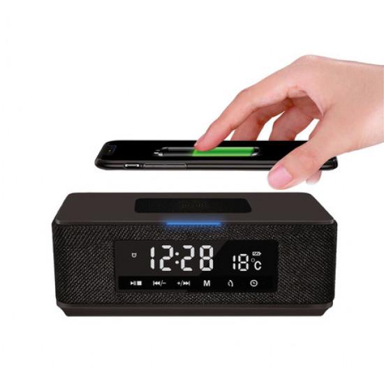 Bluetooth zvočnik Platinet PMGQ15 DAILY avdio naprava 7v1, Radio FM, QI brezžični polnilec črni